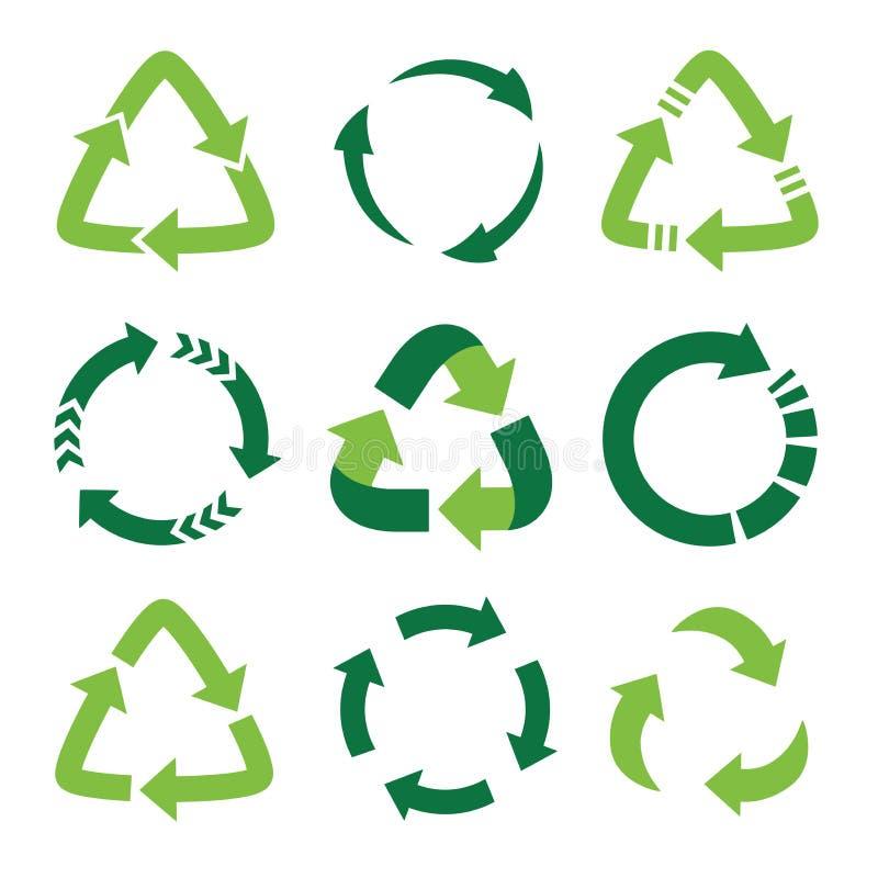 Recycling-Symbol für ökologisch reine Fonds, Satz grüner Pfeile lizenzfreie abbildung
