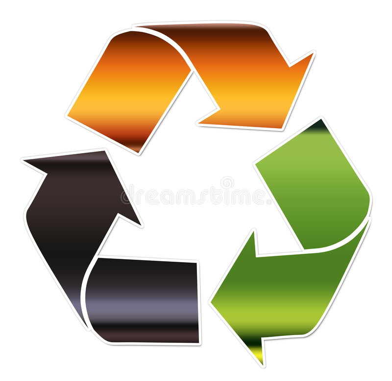 Recycling symbol, Glass stock photography