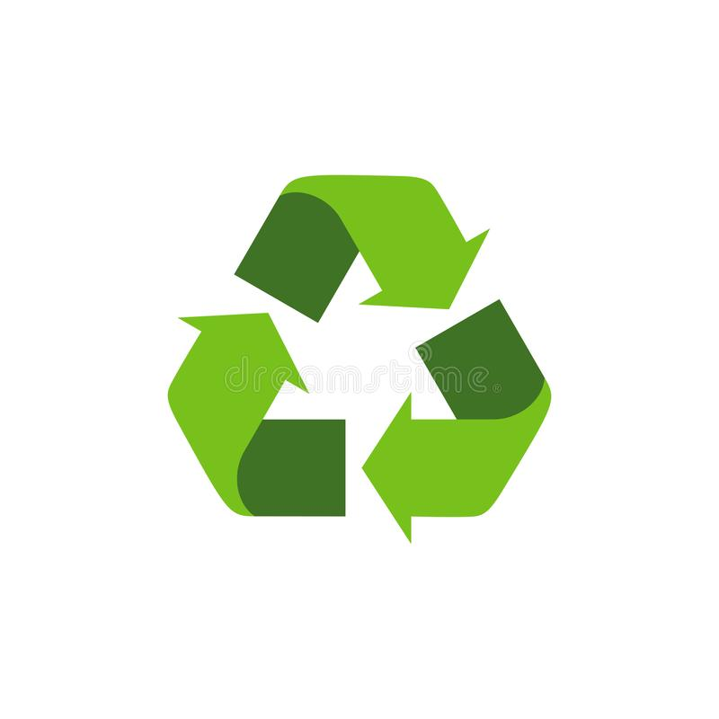 Recycling symbol with green arrows. Isolated recycle icon on the white background. Earth Day universal international symbol. stock illustration