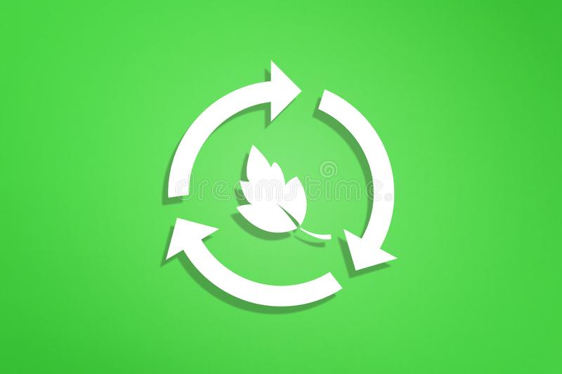 Recycle symbol on green background. Recycling symbol on green background stock illustration