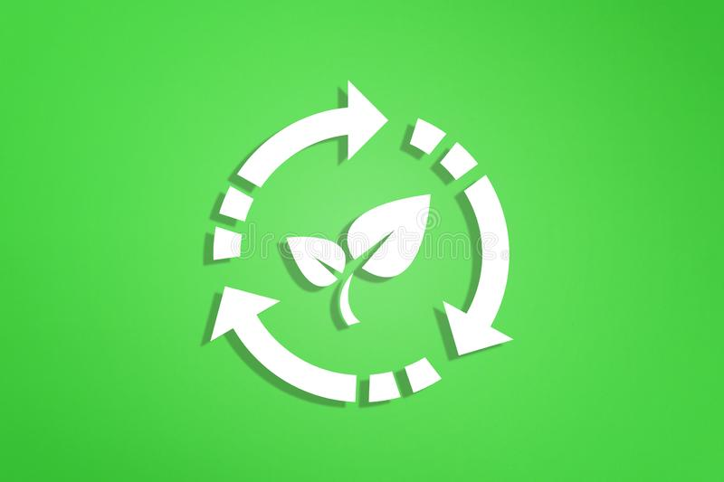 Recycle symbol on green background. Recycling symbol on green background vector illustration