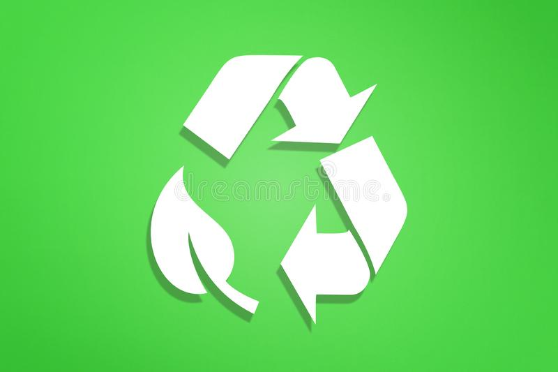 Recycle symbol on green background. Recycling symbol on green background royalty free illustration