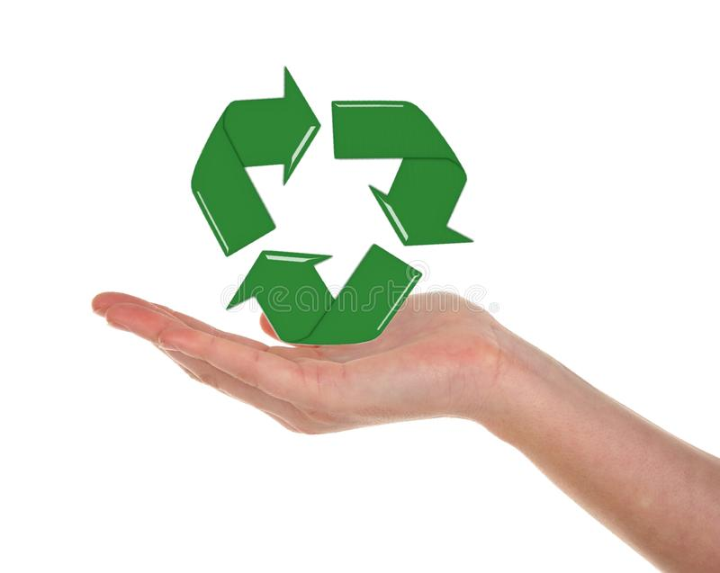 Download Recycling Symbol and Hand stock photo. Image of protection - 20635588
