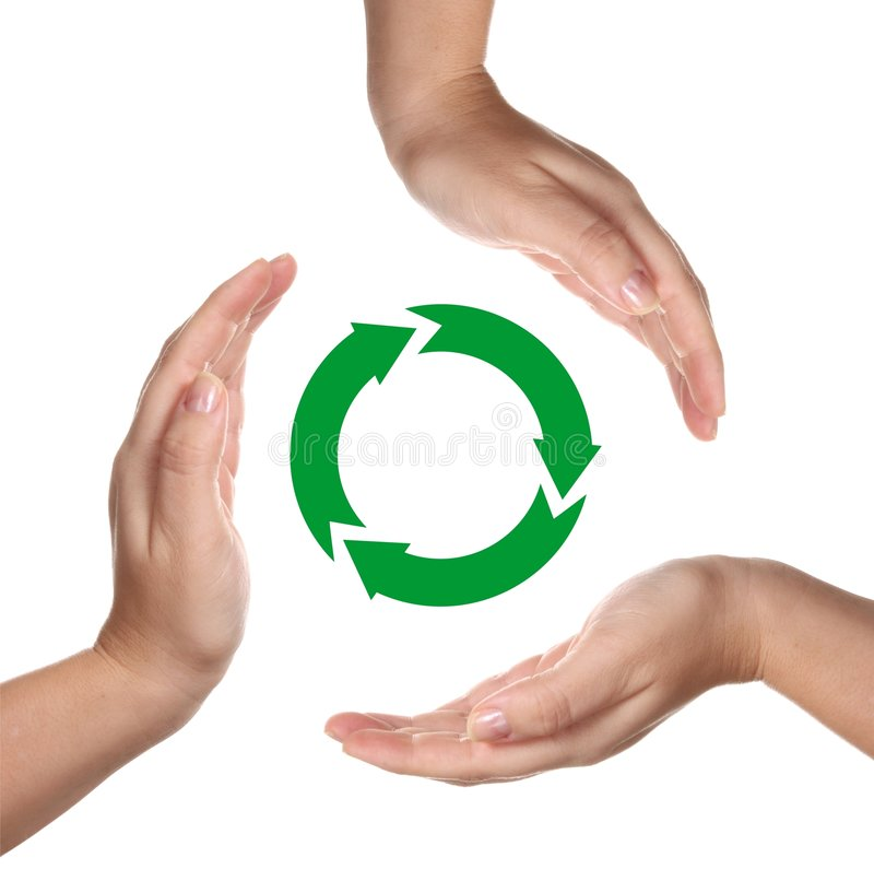 Download Recycling Symbol Between Hands Stock Image - Image: 7663249