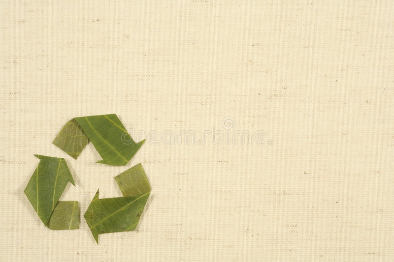 Recycling symbol made from leaves stock image