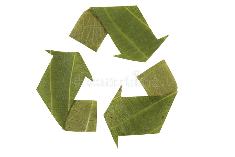 Recycling symbol made from leaves stock photo