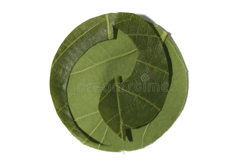 Recycling symbol made from leaves, the green dot. royalty free stock photography