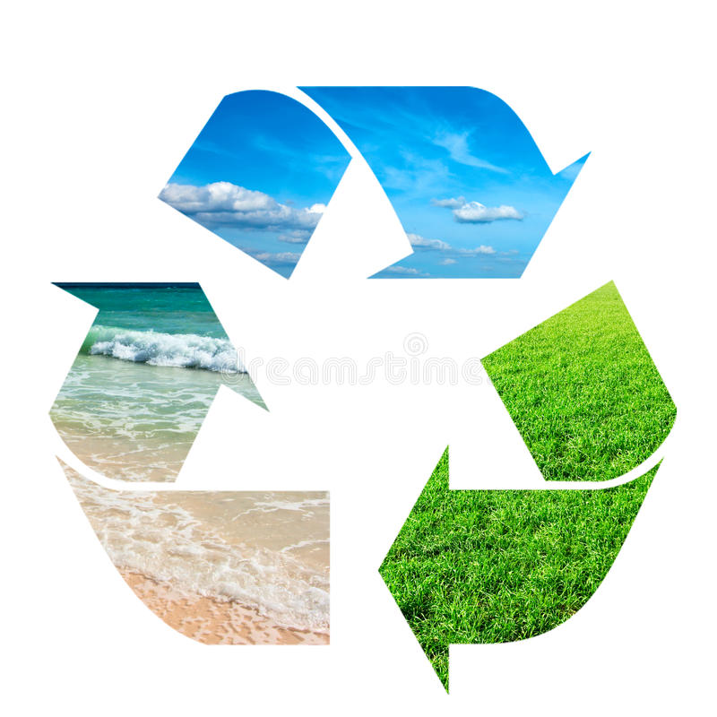 Download Recycling Symbol Made Of Sky, Grass And Water Stock Image - Image: 14012437