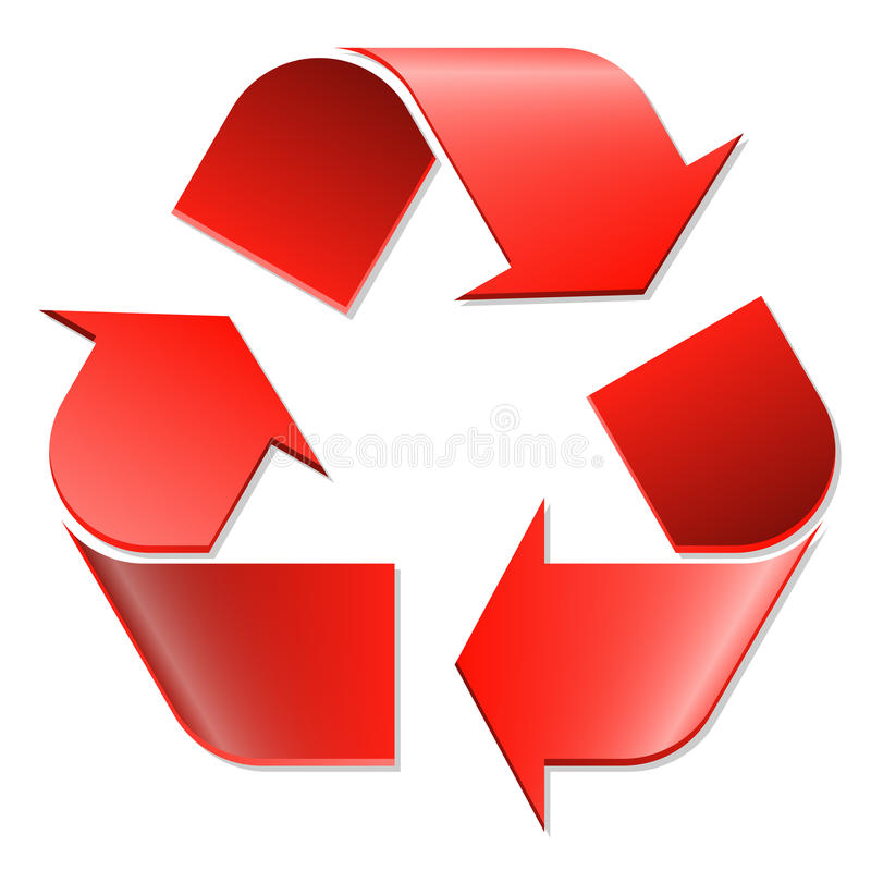 Recycling symbol red stock illustration