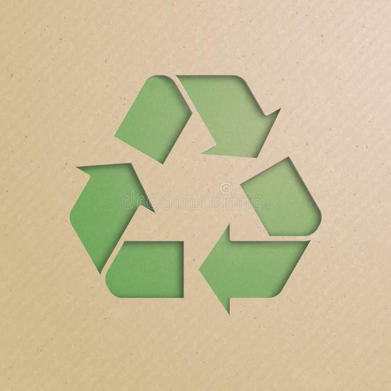 Recycling-Symbol, Schnitt von der Pappe stock abbildung
