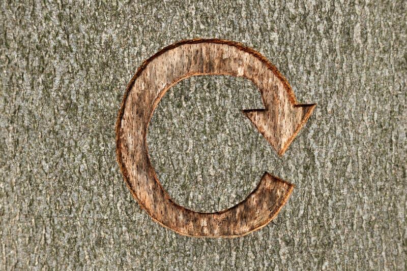 Recycling-Symbol schnitzte in einen Baum stockfoto