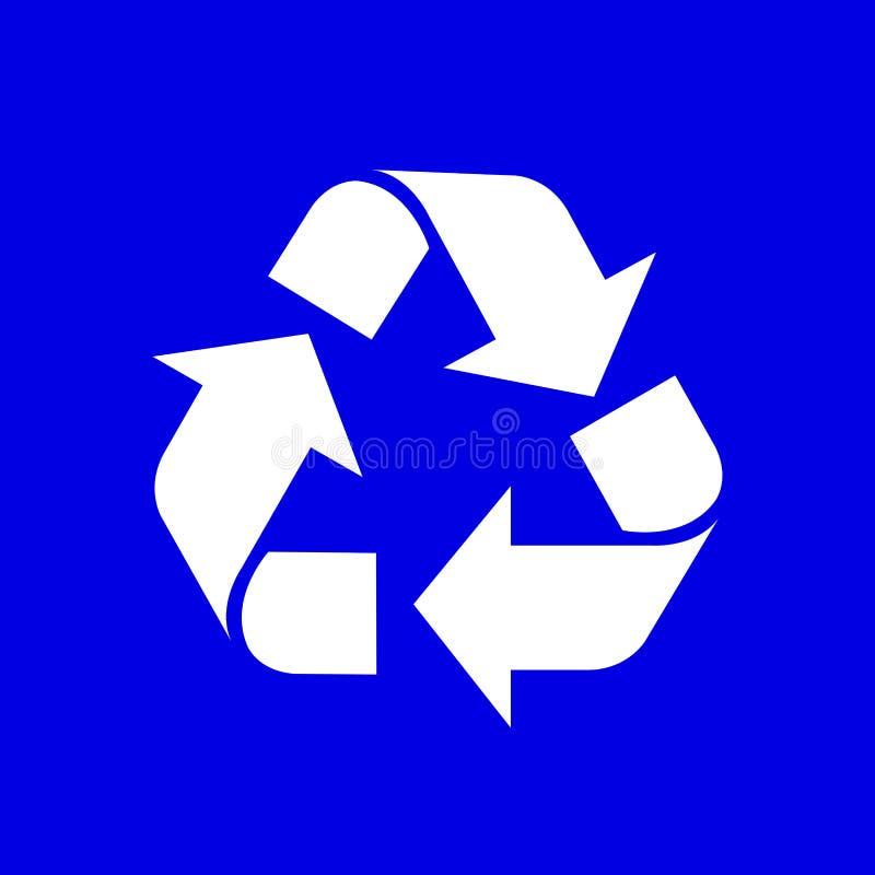 Recycling-Symbol-weiße lokalisiert auf blauem Hintergrund, weiße Ökologieikone auf blauer, weißer Pfeilform für bereiten Ikonenab lizenzfreie stockfotografie