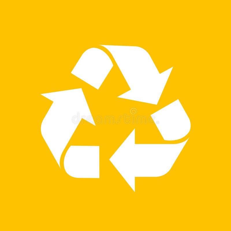 Recycling-Symbol-weiße lokalisiert auf gelbem Hintergrund, weiße Ökologieikone auf gelber, weißer Pfeilform für bereiten Ikonenab lizenzfreie stockfotos
