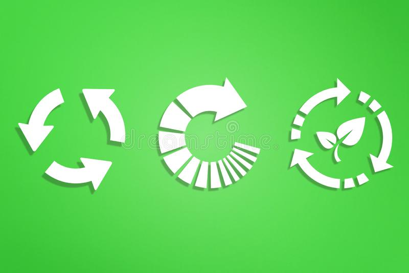 Recycle symbols on green background. Recycling symbols on green background stock image