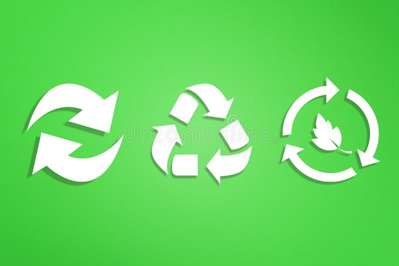 Recycle symbols on green background. Recycling symbols on green background stock illustration