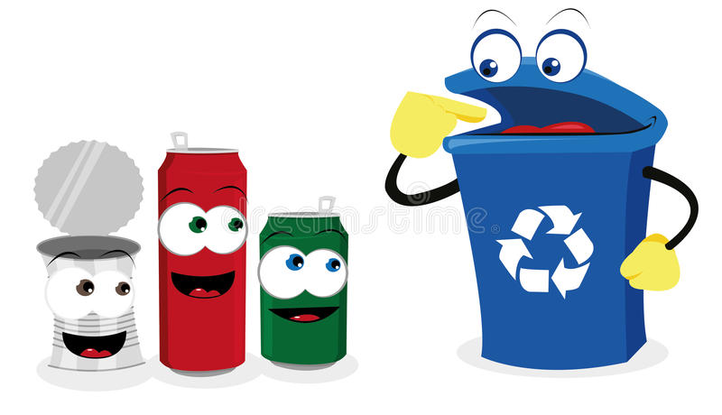 Recycling tin. A cartoon representing a funny recycling bin and some cans royalty free illustration