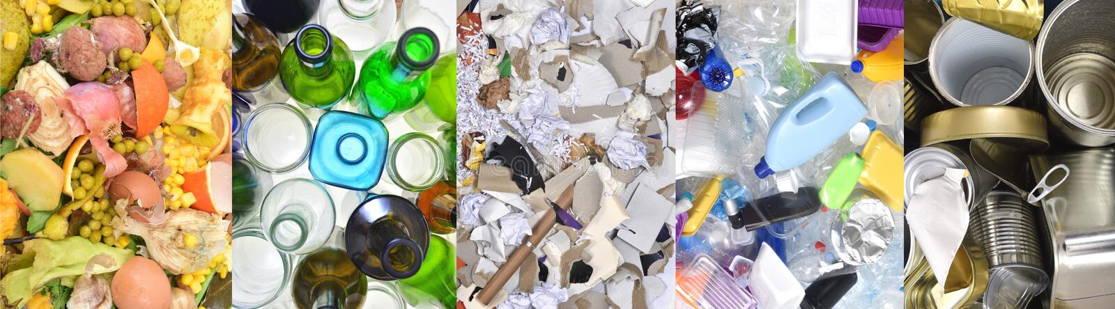 Recycling, tin can,plastic,paper,glass and organic. Recycling tin can plastic paper glass and organic royalty free stock images