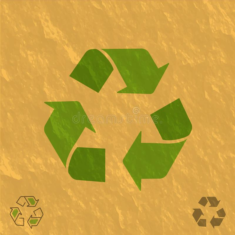 Recycling transparent symbol on craft-paper texture vector illustration.  royalty free illustration