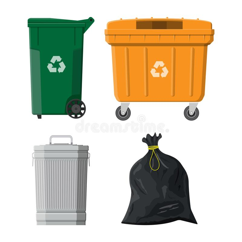 Recycling and utilization equipment. Can container, bag and bucket for garbage. Recycling and utilization equipment. Waste management. Vector illustration in royalty free illustration