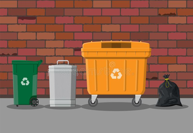Recycling and utilization equipment. Can container, bag and bucket for garbage on street. Recycling and utilization equipment. Waste management. Vector royalty free illustration