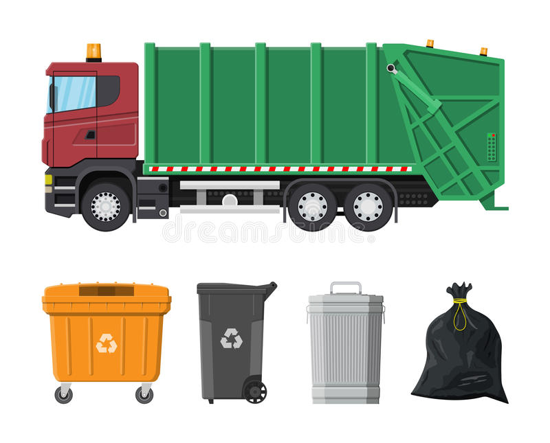 Recycling and utilization equipment. Truck for assembling and transportation garbage. Car waste disposal. Can container, bag and bucket for garbage. Recycling royalty free illustration