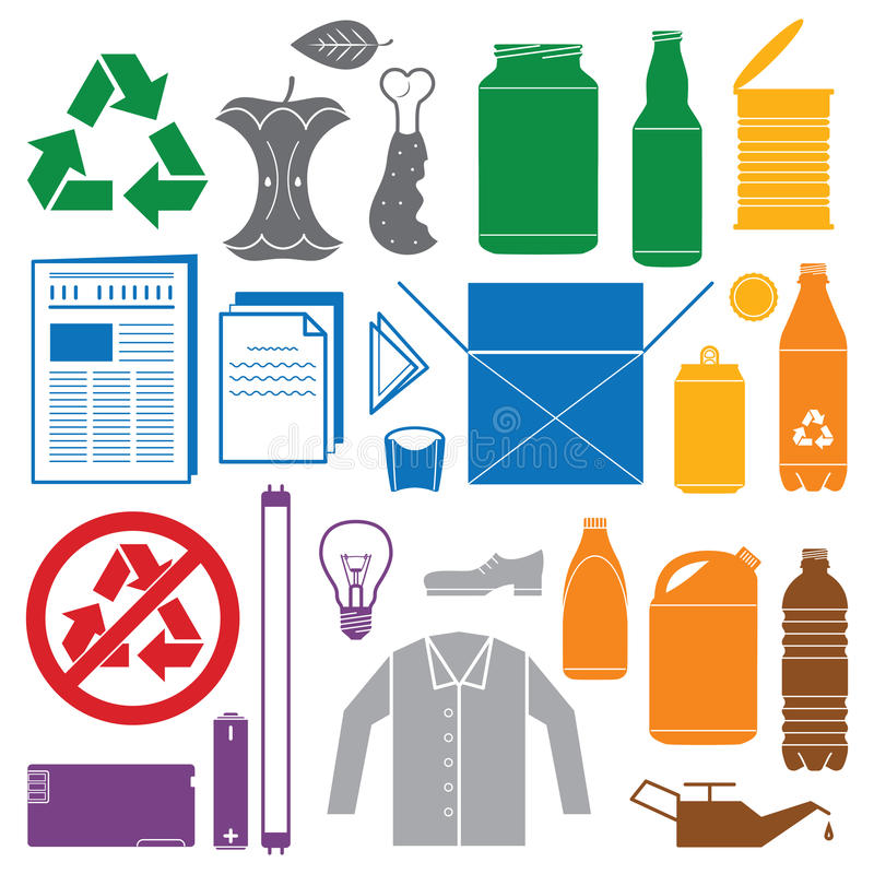 Recycling and various waste color icons stock illustration