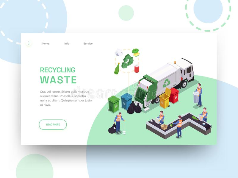 Recycling Waste Landing Page stock illustration