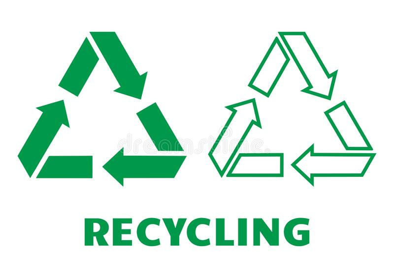 Recycling. Waste sign, flat and outline design. Vector illustration royalty free illustration