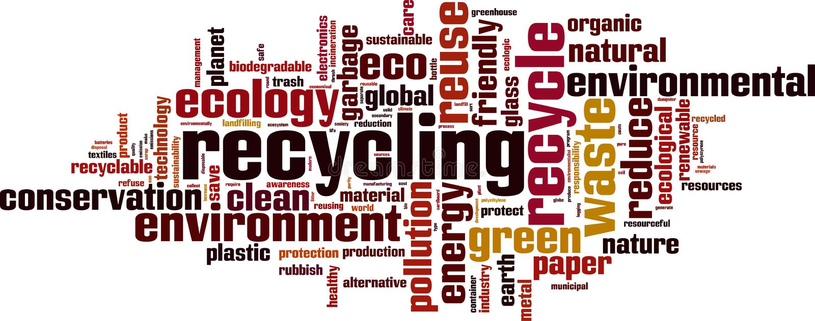 Recycling word cloud. Concept. Vector illustration royalty free illustration