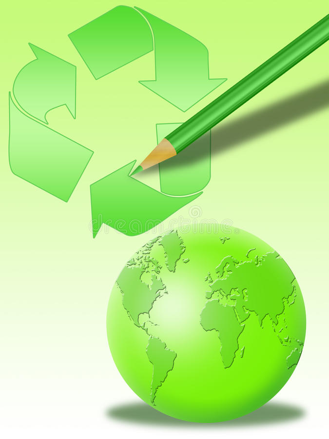 Recycling world and pencil (02) royalty free stock photography