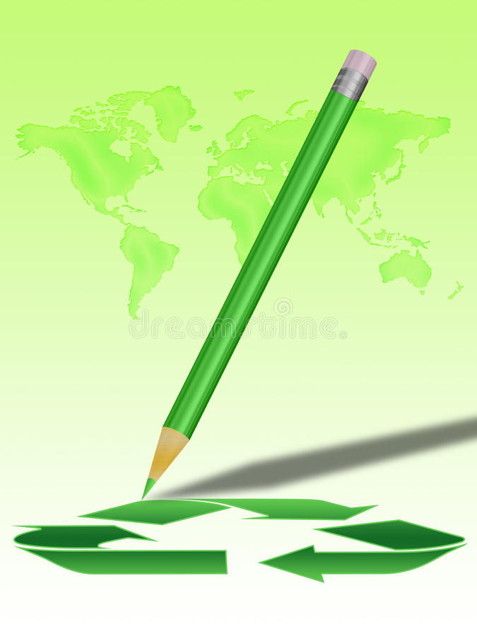 Recycling world and pencil stock image