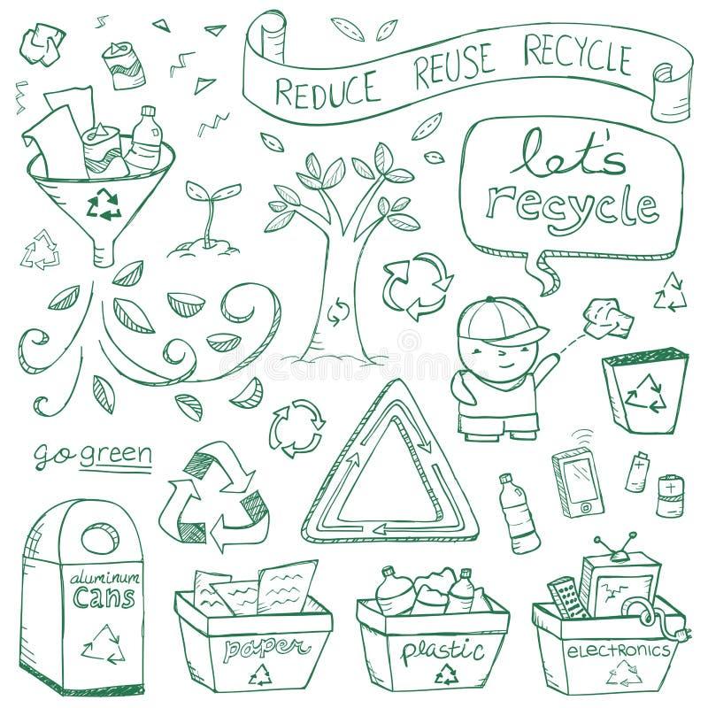 Recyclingskrabbels Stock Foto's