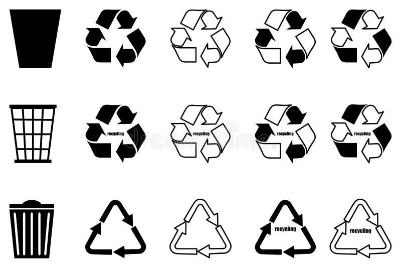 Recyclingsreeks, vuilnisbak, stock illustratie