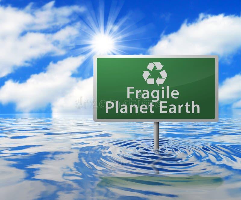 Recyclingsverkeersteken op Overstroomd Gebied stock illustratie