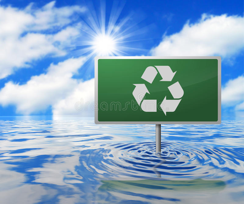 Recyclingsverkeersteken op Overstroomd Gebied royalty-vrije illustratie