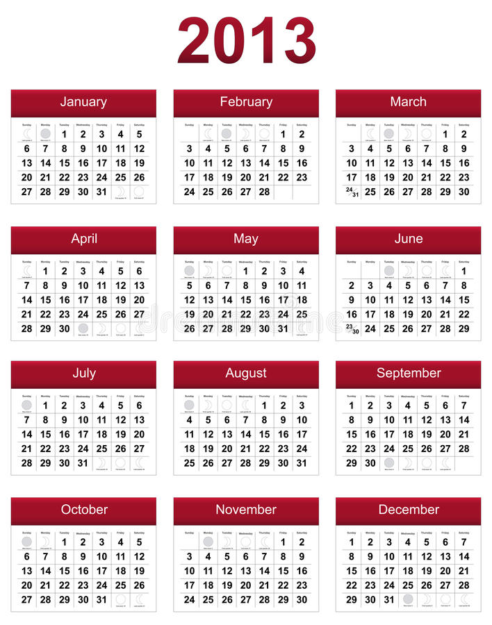 Download Red 2013 Calendar Stock Photography - Image: 25393112