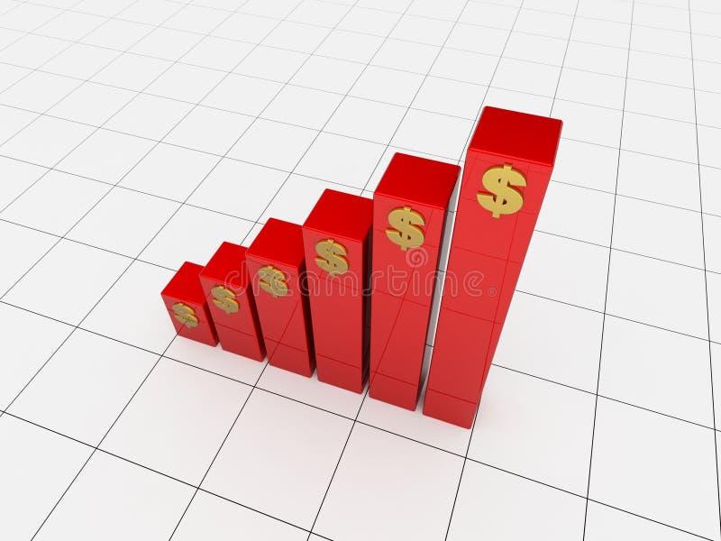 Red 3d chart stock illustration