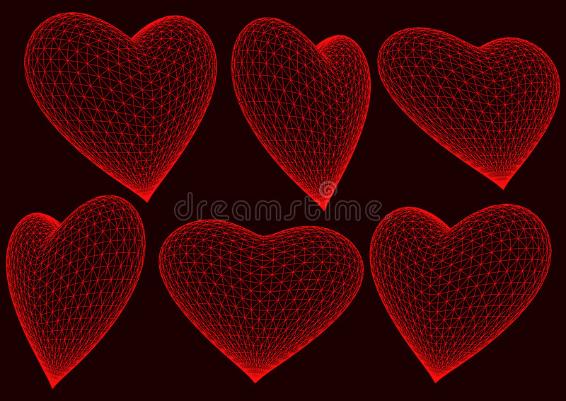 Red 3d rendered hearts. 3d hearts rendered in black background stock illustration