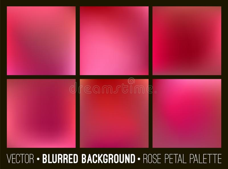 Red abstract blurred background set. Rose petal palette. Smooth design elements collection love concept.  royalty free illustration