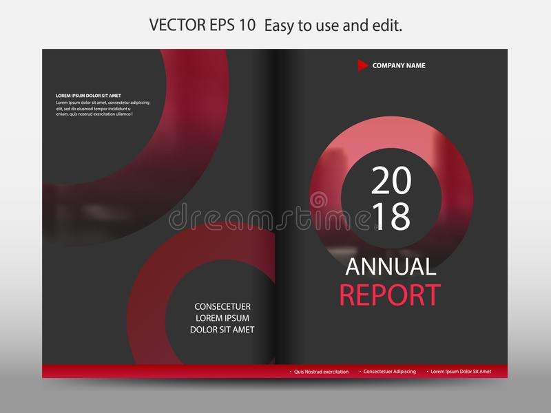 Red abstract circle annual report Brochure design template vector. Business Flyers infographic magazine poster.Abstract layout. Template ,Book Cover vector illustration