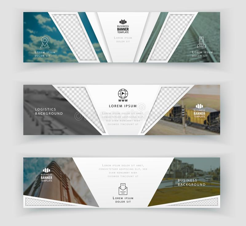 Business banner template with realistic photos, Logistics horizontal template. Abstract cover header background template royalty free illustration