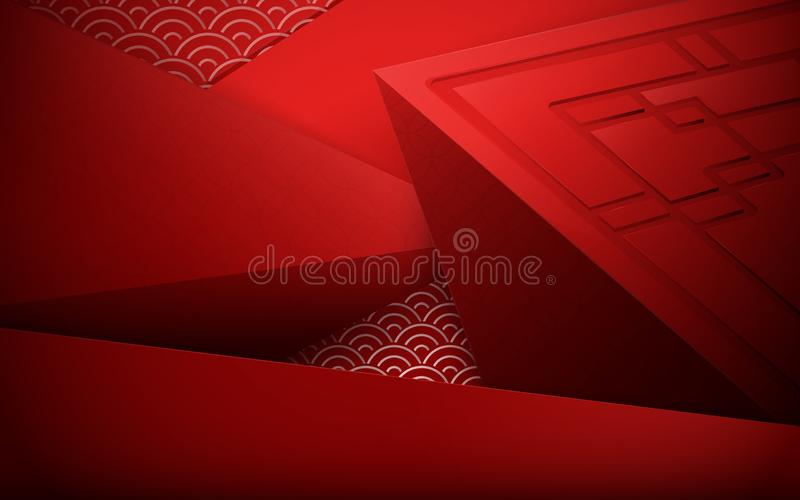 Red abstract 3D polygonal and geometric background. Chinese new year. Chinese and asian elements vector illustration