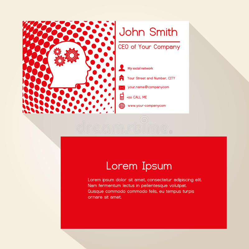Red abstract dots business card design stock illustration