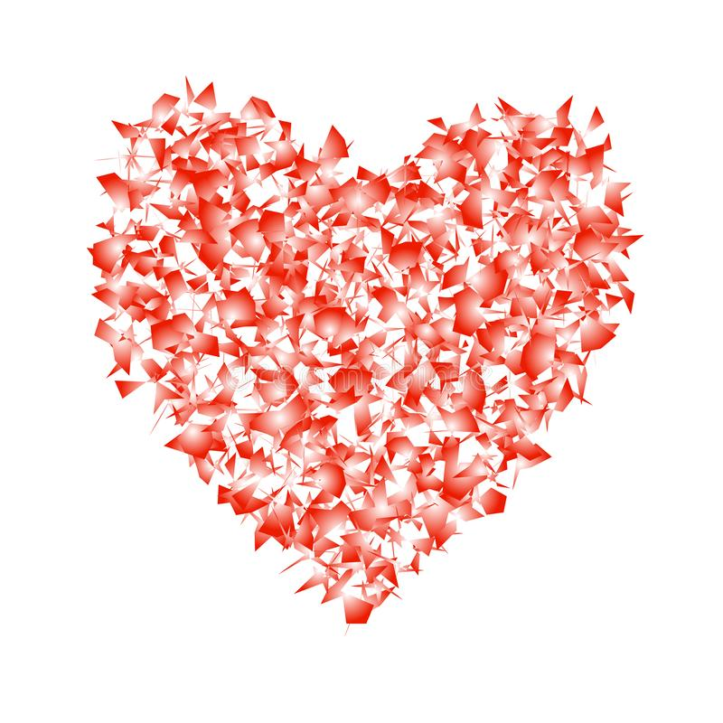 Red abstract heart isolated on white background. Vector design e stock illustration