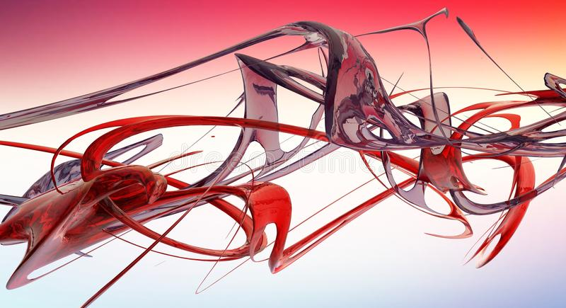Red abstract liquid waves 3D rendered. Fractal royalty free illustration