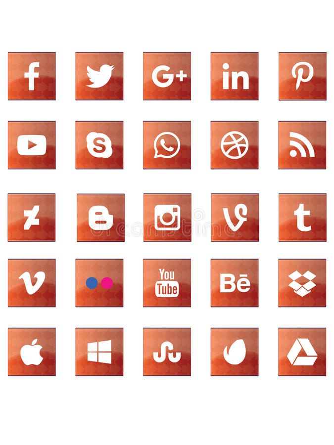 Red abstract social media signs vector illustration