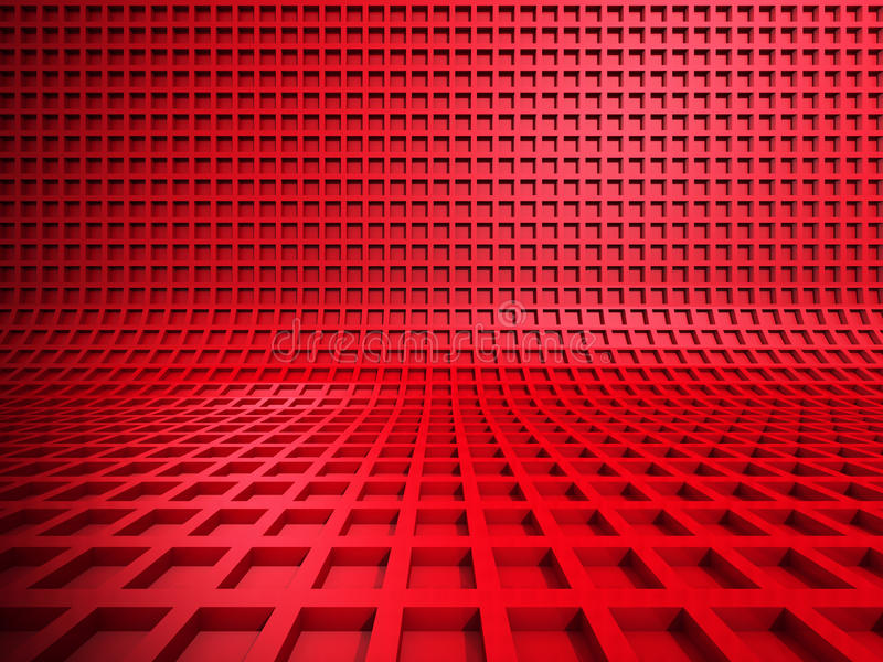 Red abstract square shapes background. 3d render illustration stock illustration