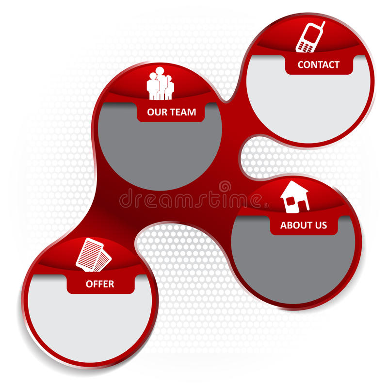 Red abstract vector infographic background with icons for company. Brochure, flyer, poster or website stock illustration