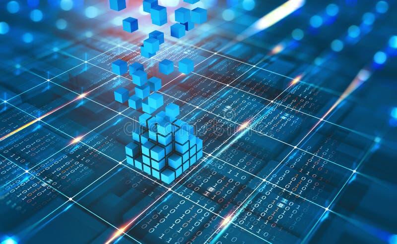Red abstracta de Blockchain del concepto Tecnología de Fintech Transmisión global de la protección y de datos