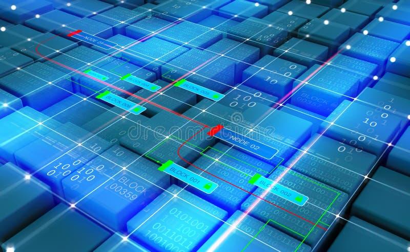 Red abstracta de Blockchain del concepto Tecnolog?a de Fintech ilustración del vector